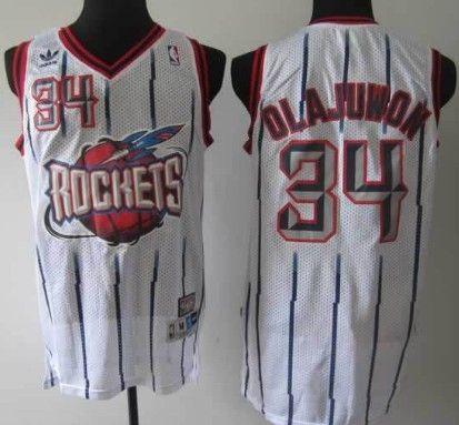 Houston Rockets #34 Hakeem Olajuwon ABA Hardwood Classic Swingman White  Jersey