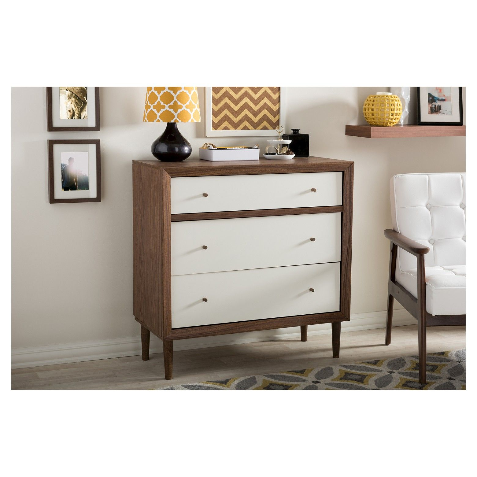 Harlow Mid Century Modern Scandinavian Style Wood 3 Drawer Chest White And Walnut Baxton Studio Furniture 3 Drawer Chest White Interior Design