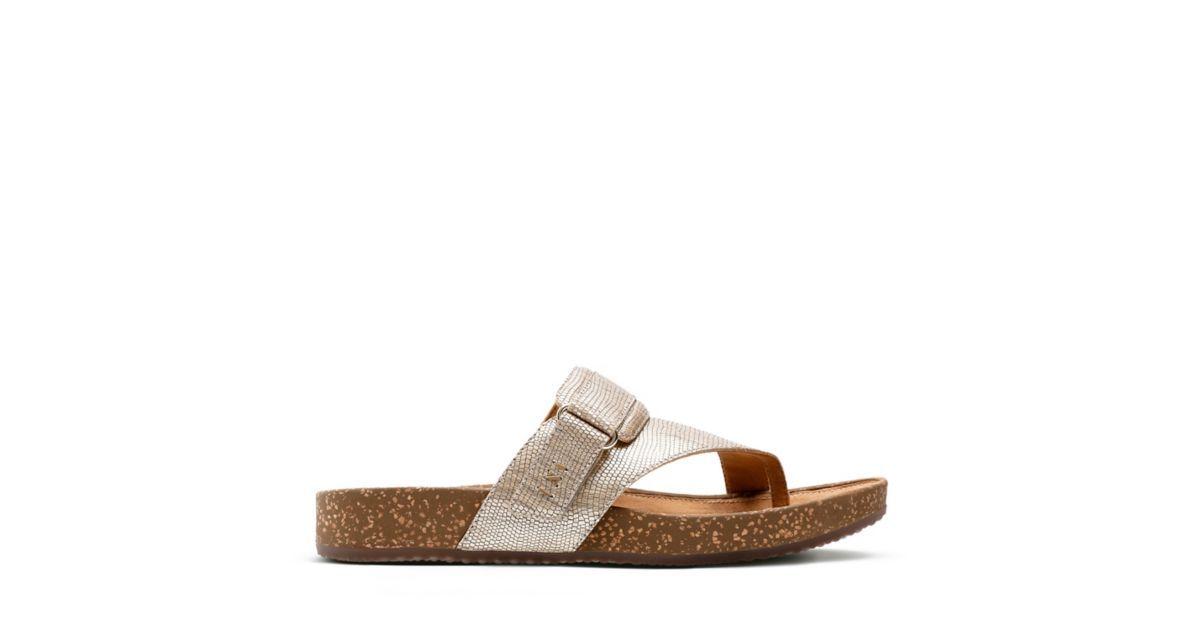 0af8d207cf5 Rosilla Durham Light Gold Metallic Leather - Women s Flip Flop Sandals -  Clarks® Shoes Official Site
