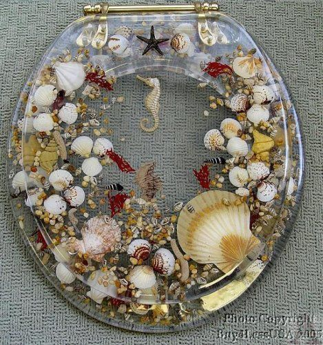 Clear Polly Resin Standard Size Seashell Toilet Seat Novelty