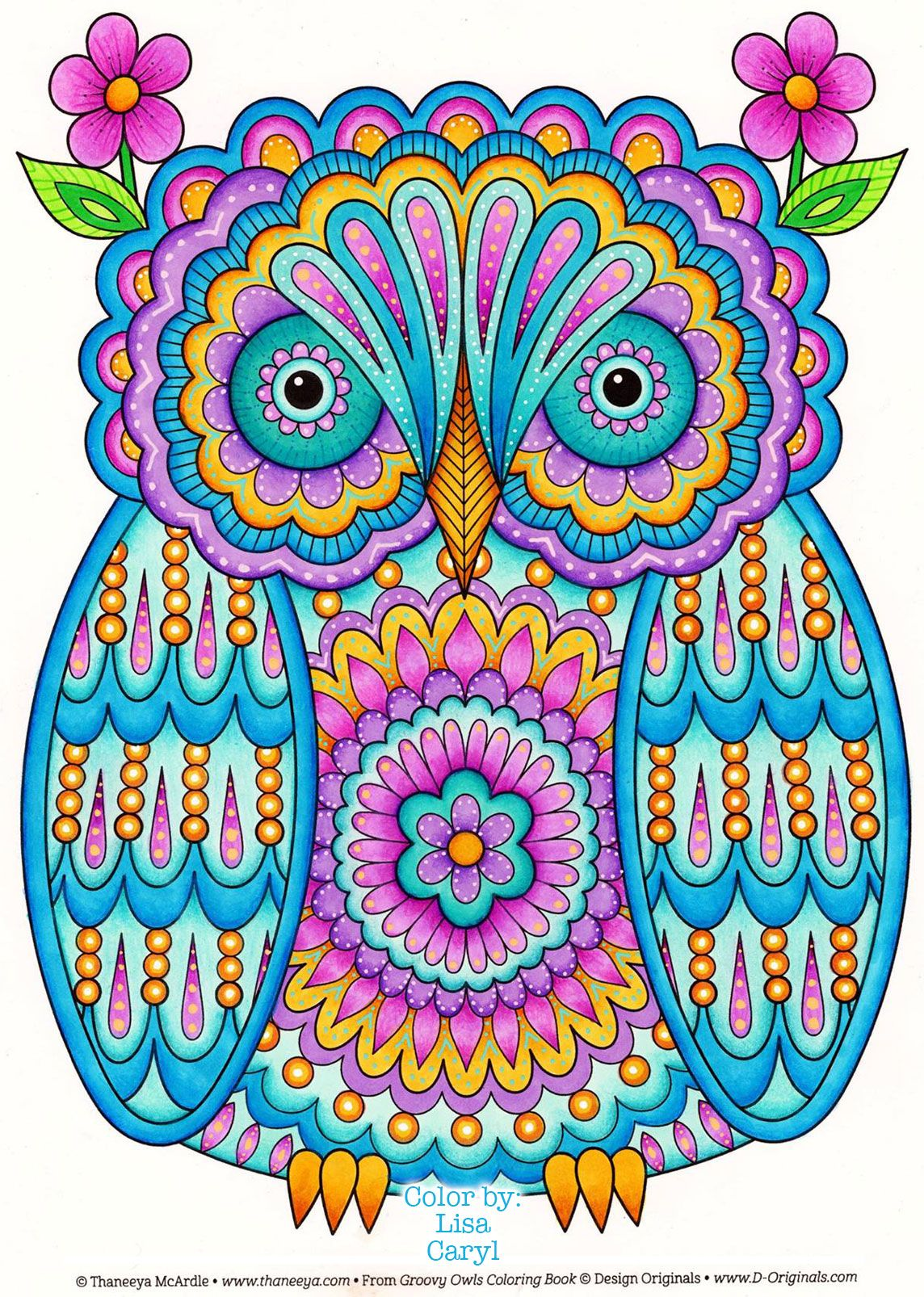 Owl Coloring Page From Thaneeya Mcardle S Groovy Owls Coloring Book Colored By Lisa Caryl Https Www Amazon C Owl Coloring Pages Coloring Books Owl Wallpaper