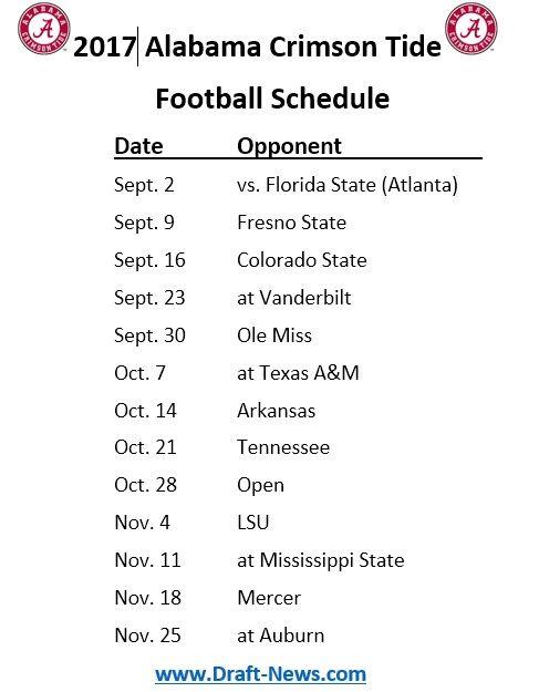 University Of Alabama Football Schedule 2017 >> Printable 2017 Alabama Crimson Tide Football Schedule Alabama