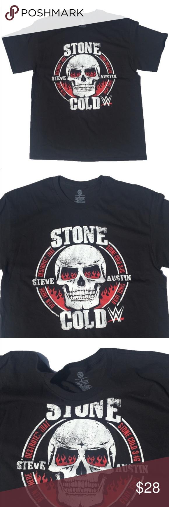 Wwe Stone Cold Steve Austin Shirt Super Cool Chest Logo Stone Cold Steve Austin Black T Shirt New Really Comfortable Austin Shirt Wwe Shirts Clothes Design