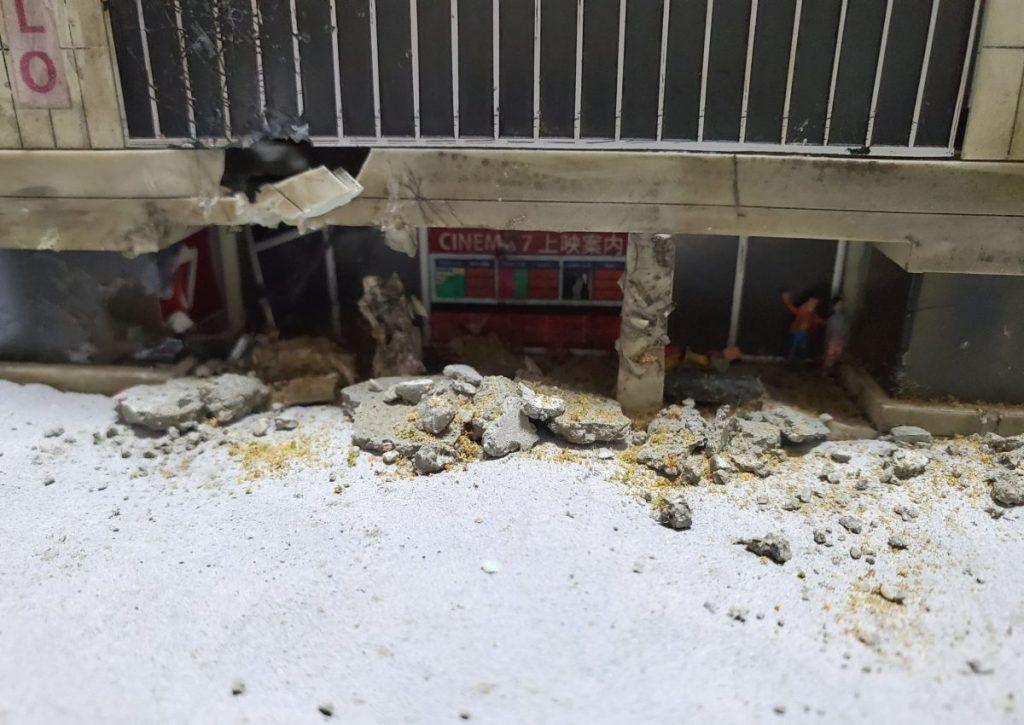 瓦礫と破壊された建物の作り方 ガンプラ市街地ジオラマ製作記録6