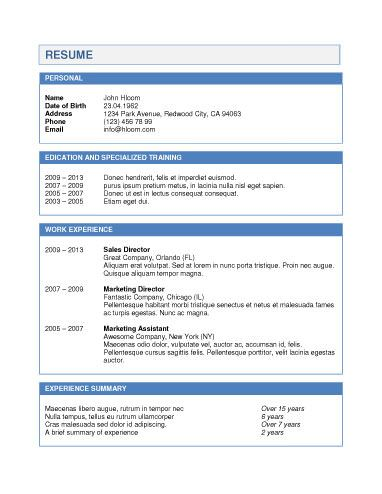 Blue Pop Resume Template Microsoft Resume Templates Good Resume Examples Resume Template Word