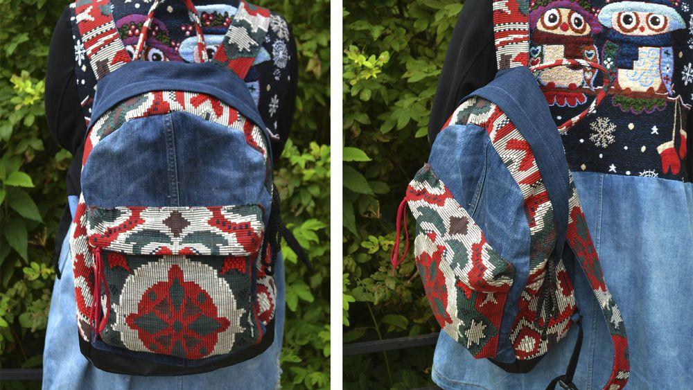 9050a06d04a7 Шьем джинсовый рюкзак. Видео мастер-класс: публикации и мастер-классы –  Ярмарка