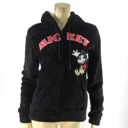Disney Fleece Hoodie Black Mickey Mouse Zipper Jacket $30.00