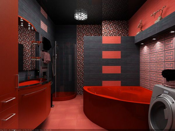 Exceptionnel Black And Red Bathroom Interior Design Ideas By