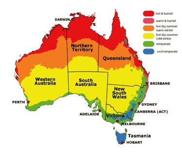 Map Of Australian Landscapes.Australia Has Several Regions With Varying Weather Condition Seeing