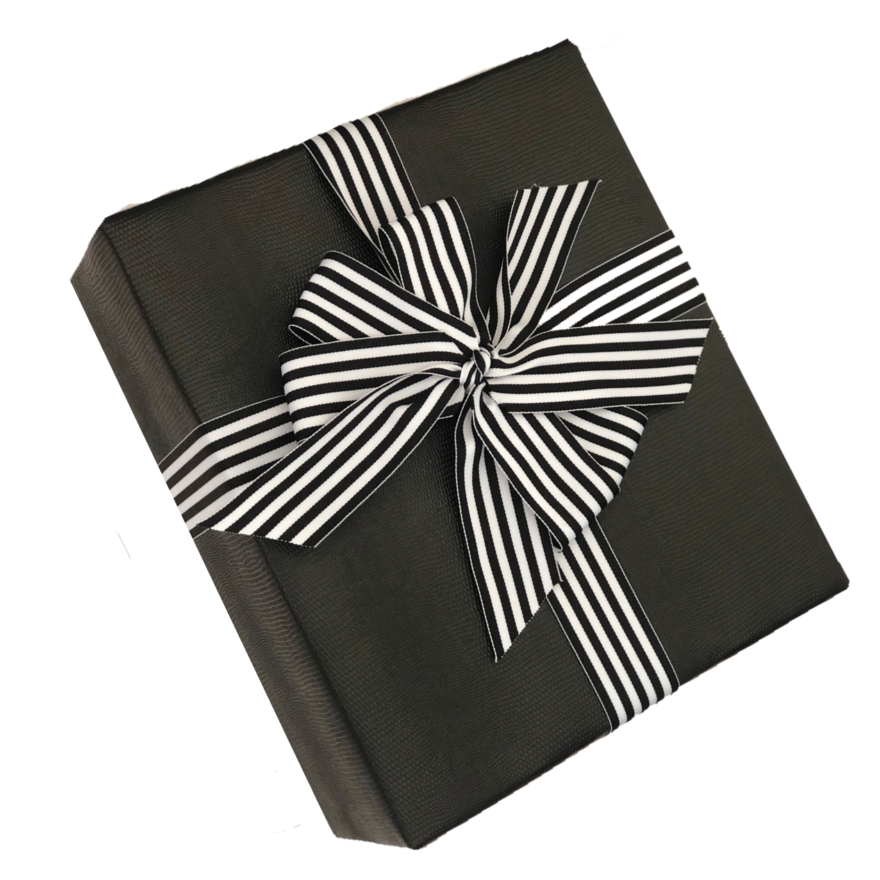 Black Faux Leather Gift Wrap with Black & White Striped Ribbon. Upscale look for weddings, corporate gifts and more.