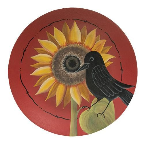Primitive Country Wooden Plate - Sunflower Crow Plate - Fall Spring Rustic -11\   sc 1 st  Pinterest & Primitive Country Wooden Plate - Sunflower Crow Plate - Fall Spring ...