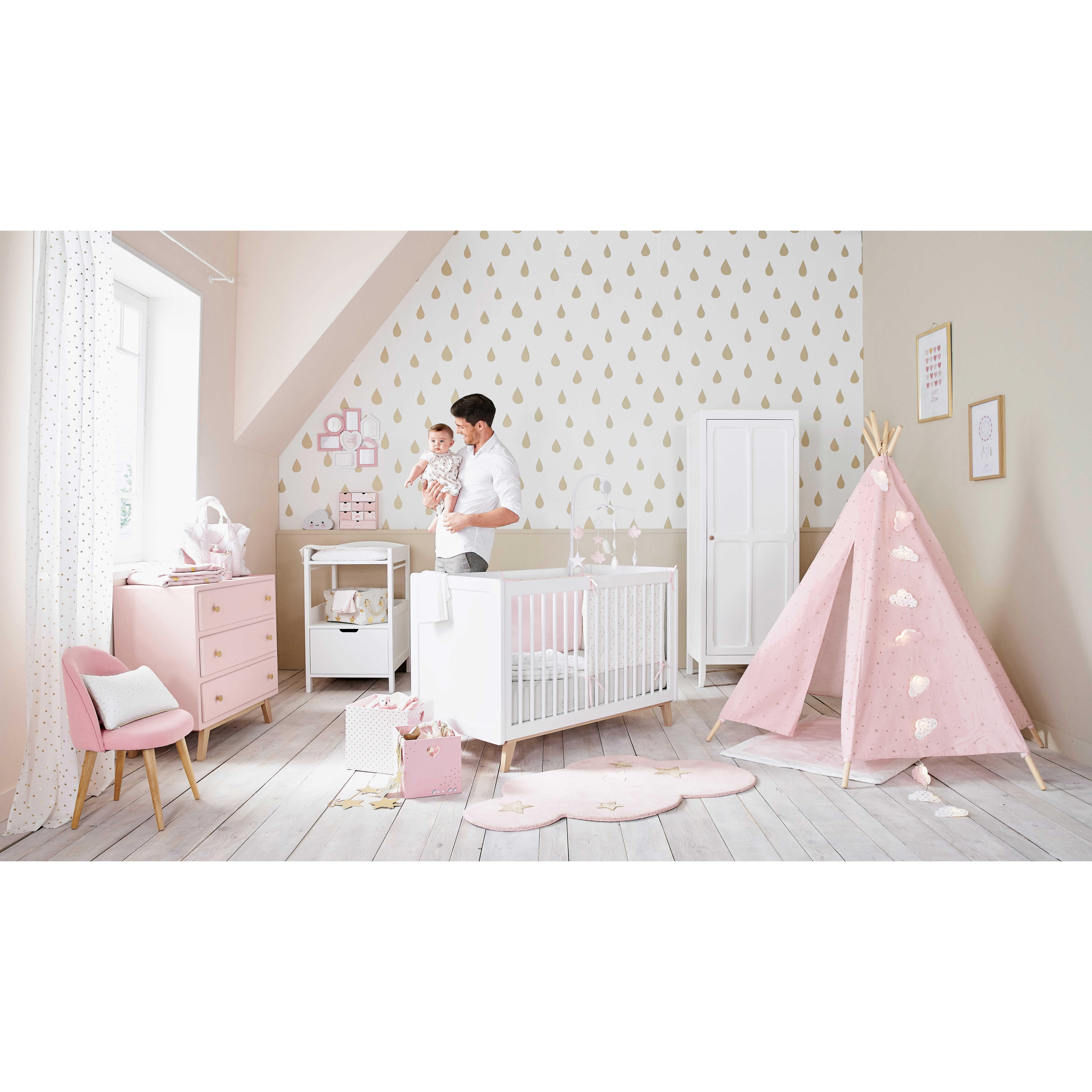 nestchen für babybett aus rosa-weißer baumwolle   maisons du monde, Schlafzimmer entwurf