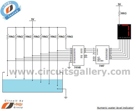 abf43c25c38e2a Numeric water level indicator- liquid level sensor circuit diagram with 7  segment display - Engineering project Gallery of Electronic Circuits and  projects