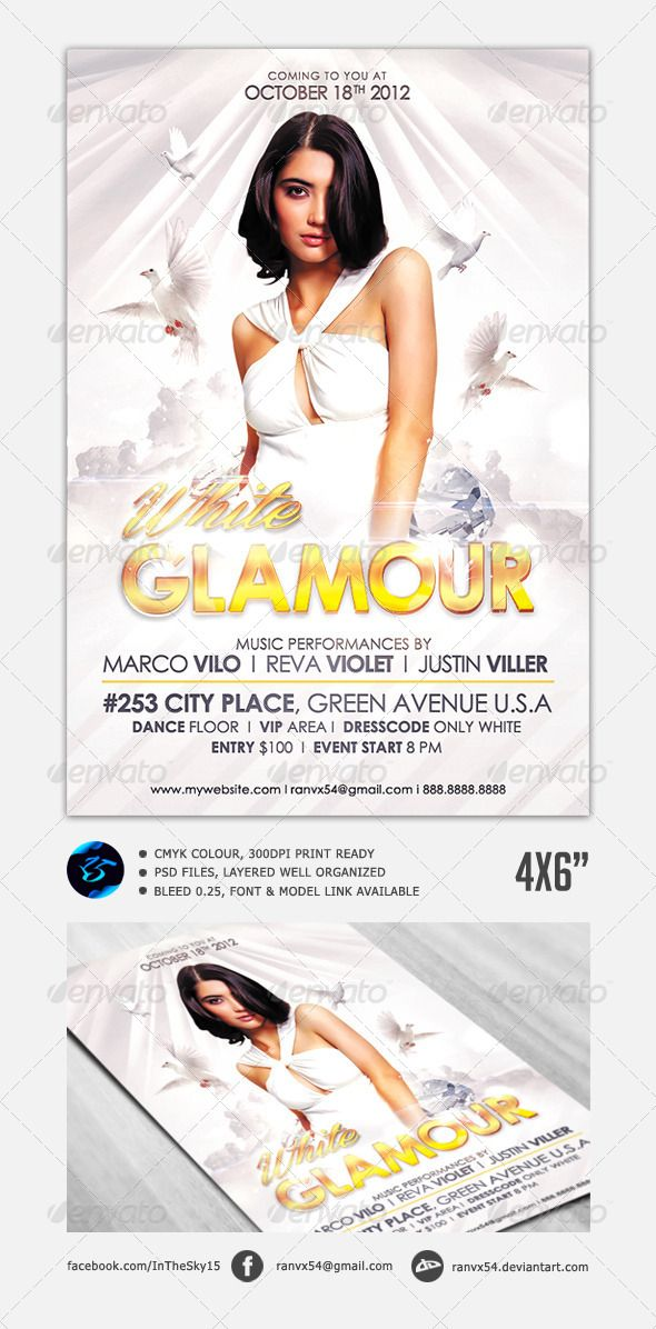 White Glamour Flyer Print templates, Glamour, Flyer template