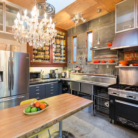 Commercial sink wood table concrete floor not the - Commercial kitchen plumbing design ...