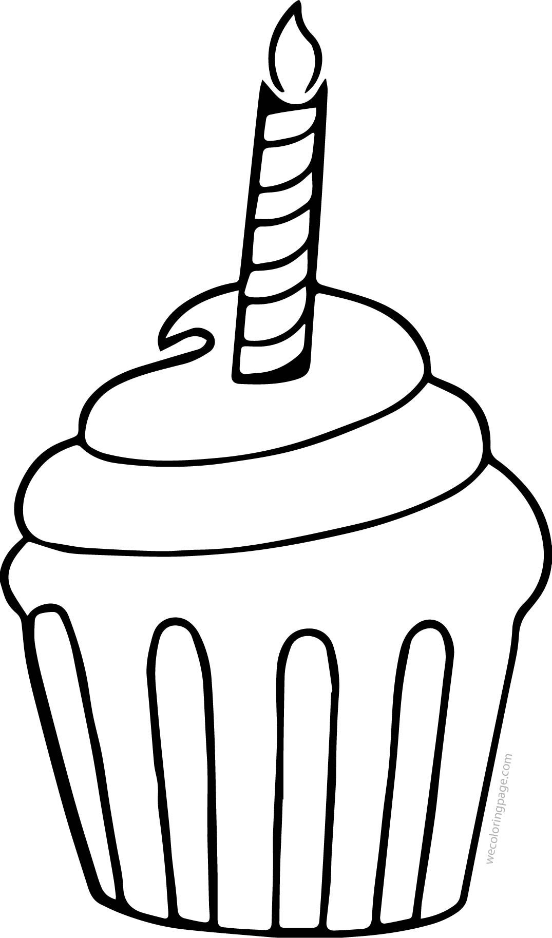 Awesome Cupcake Cup Cake Candle Coloring Page