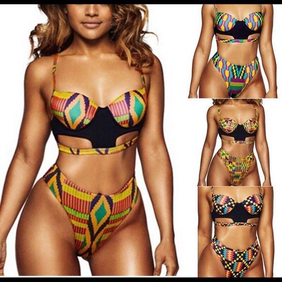 Sun Lorence Women Black Charming One-Piece Geometric Printed Fashion Swimsuits
