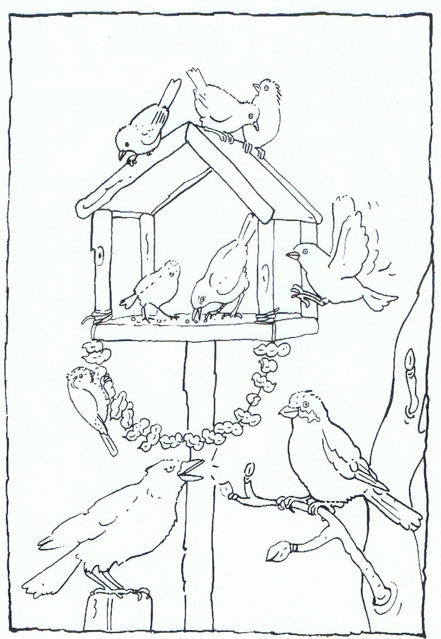 feeding birds in your garden coloring page vogels voeren in je