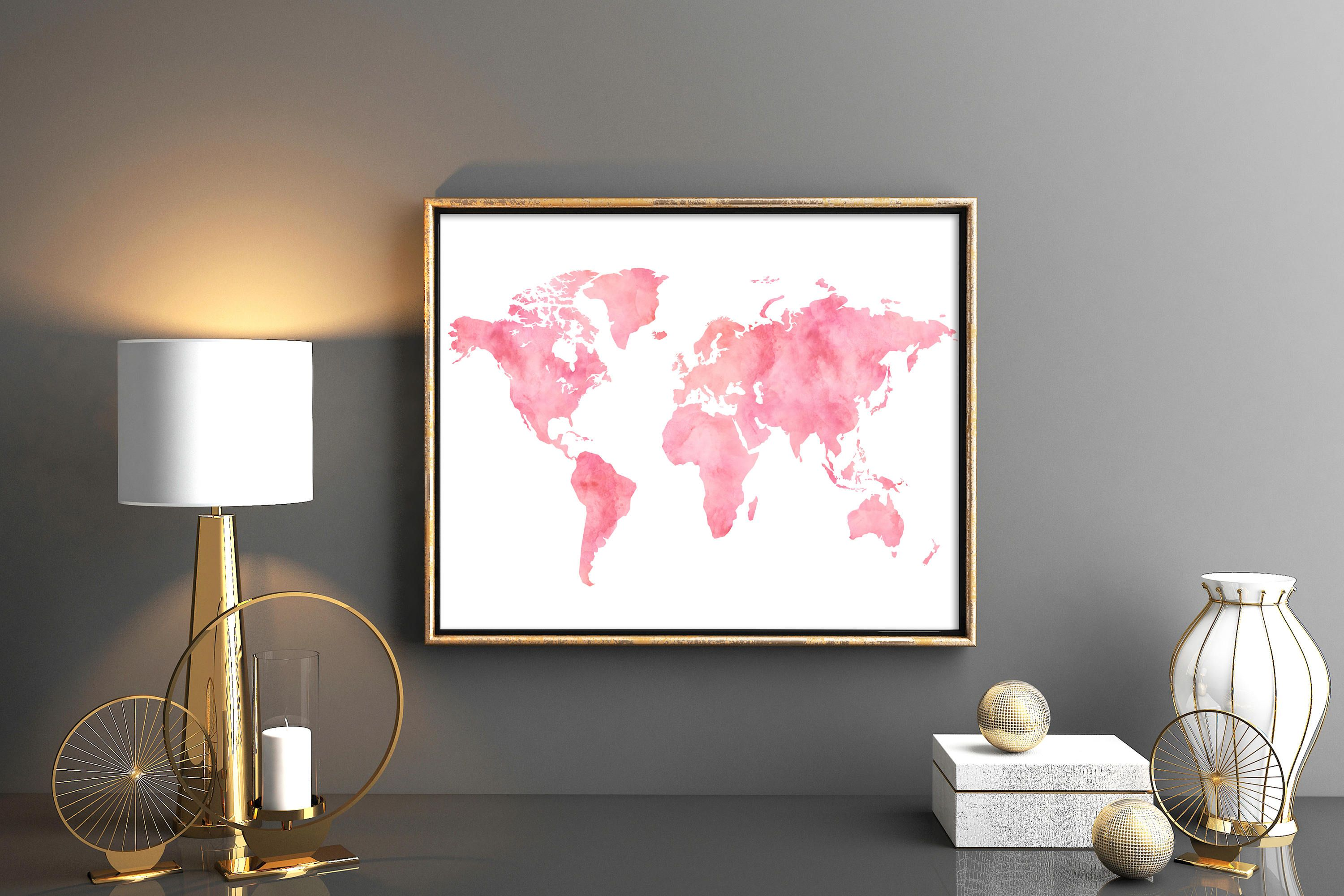 Blush pink world map decor watercolor world map download world map world map printable world map lovely blue turquoise world map wall art world map print watercolor weltkarte blue turquoise wall decor by kompostela on etsy sciox Images