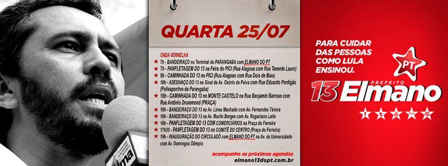 Convidamos todos e todas para nossas atividades nesta quarta (25)! #Elmano13doPT