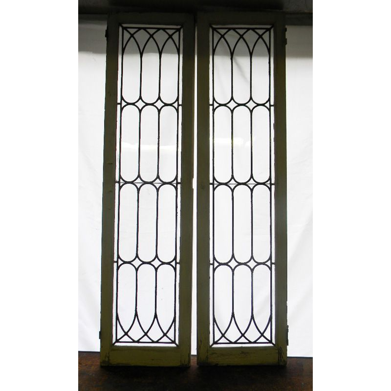 pair of antique leaded glass cabinet doors lighting recessed