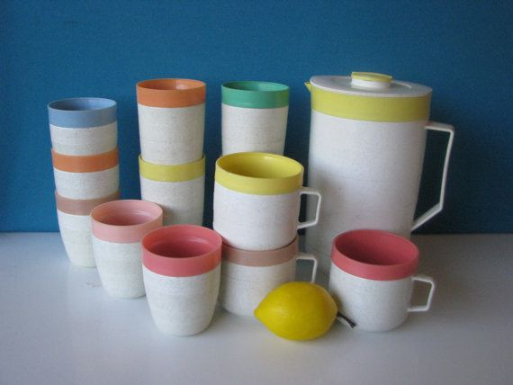 4b8dc4f983a Mid Century Therm-O Pitcher Tumblers & Coffee Cups - 12 Pieces ...