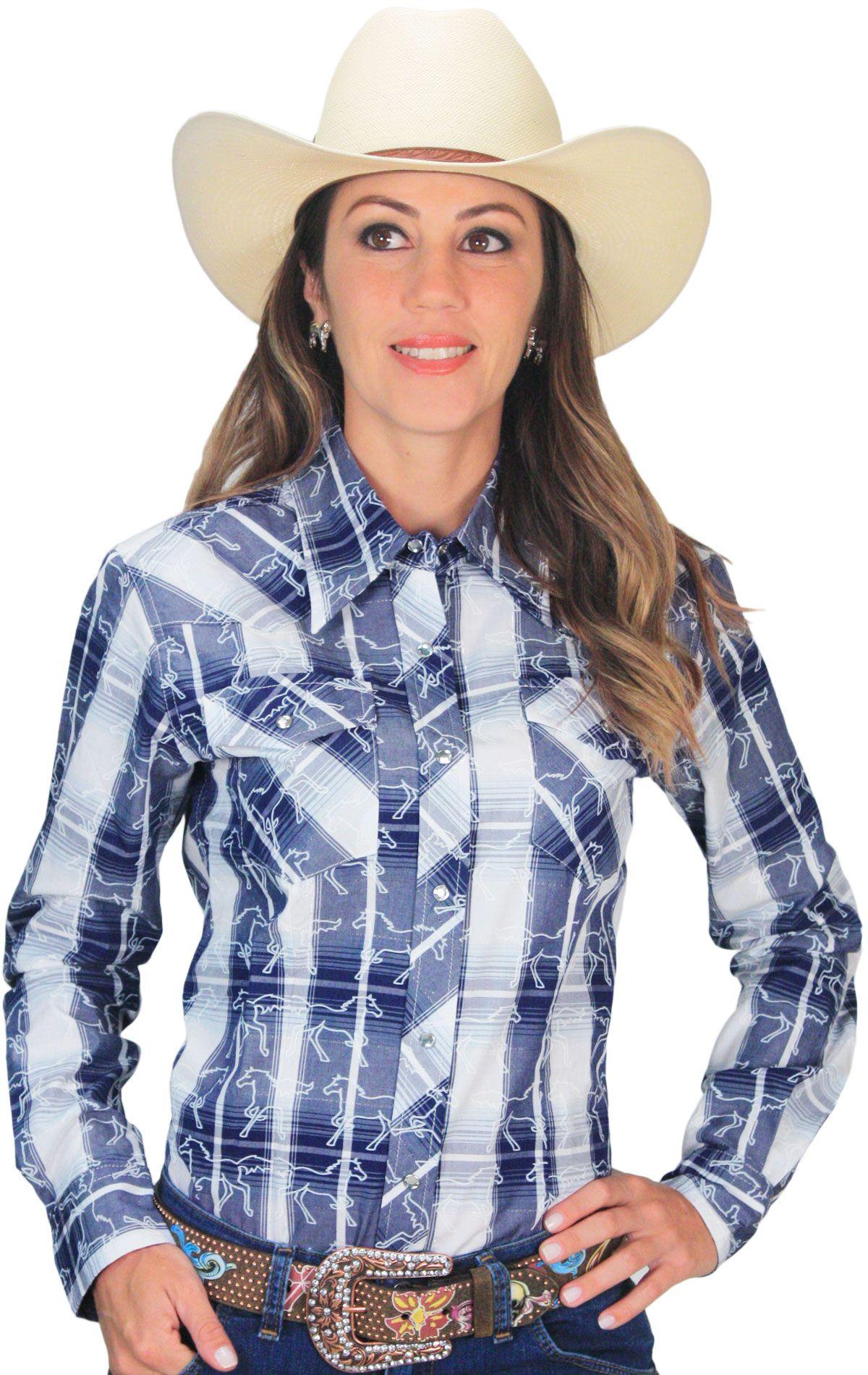 0a51989f22 camisa feminina xadrez Azul com Cavalinhos e Strass camisa feminina xadrez  country com fio metalizado