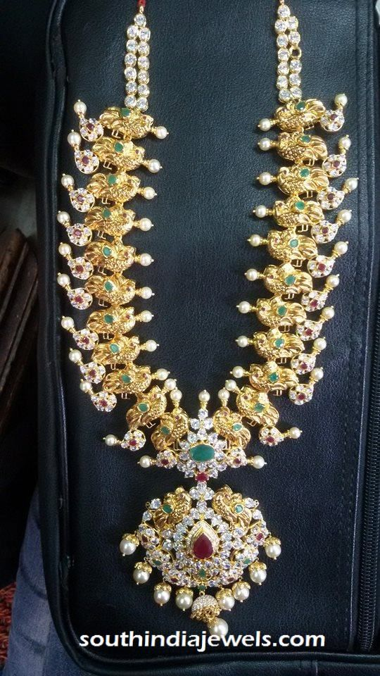 22k gold grand stone necklace | Long Necklace Collections ...