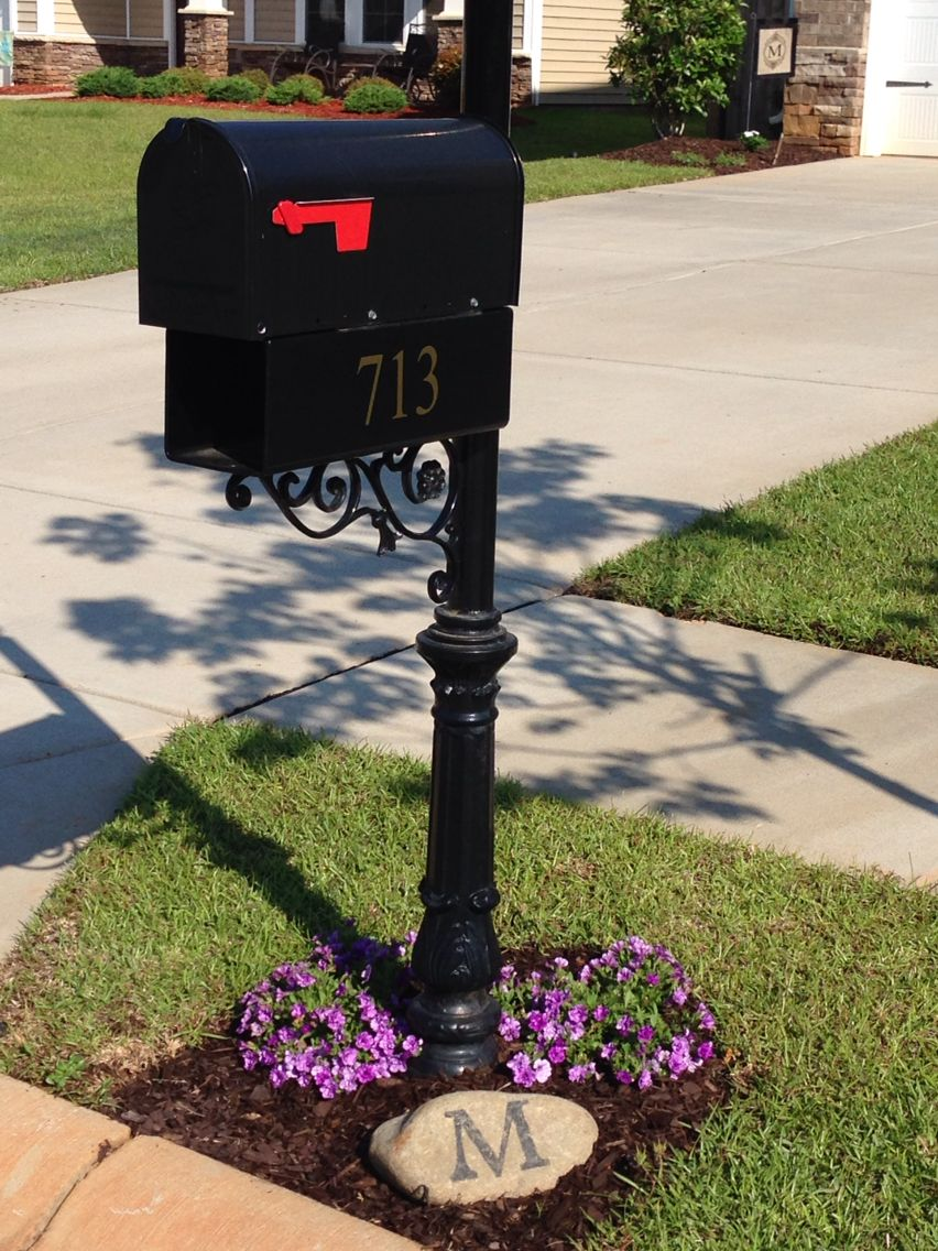 Mailbox landscape with monogram on a rock yard work for Mailbox ideas