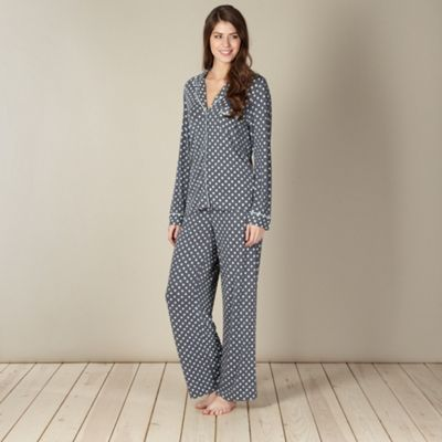 J by Jasper Conran Designer dark grey spotted pyjama set- at Debenhams.com
