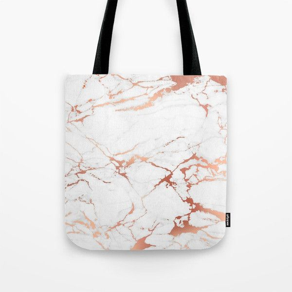 White Rose Gold Marble Tote Bag 2065 Rsd Liked On Polyvore Featuring