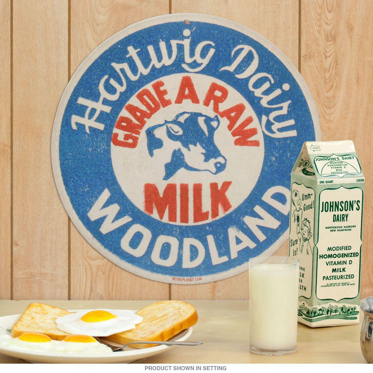 Hartwig Dairy Milk Bottle Cap Vintage Metal Sign | Americana kitchen ...