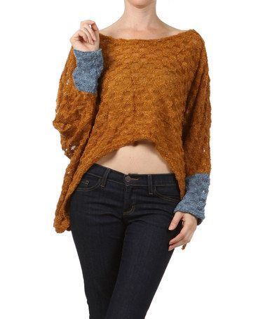 Take a look at this Rust Hi-Low Sweater by Farinelli on #zulily today! With a long tank top underneath.