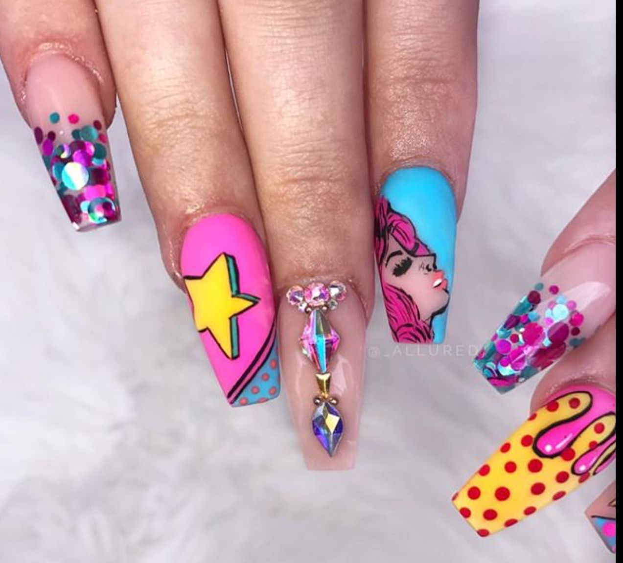Image By Michelle On Nailacious 1 Pop Art Nails Cute Acrylic