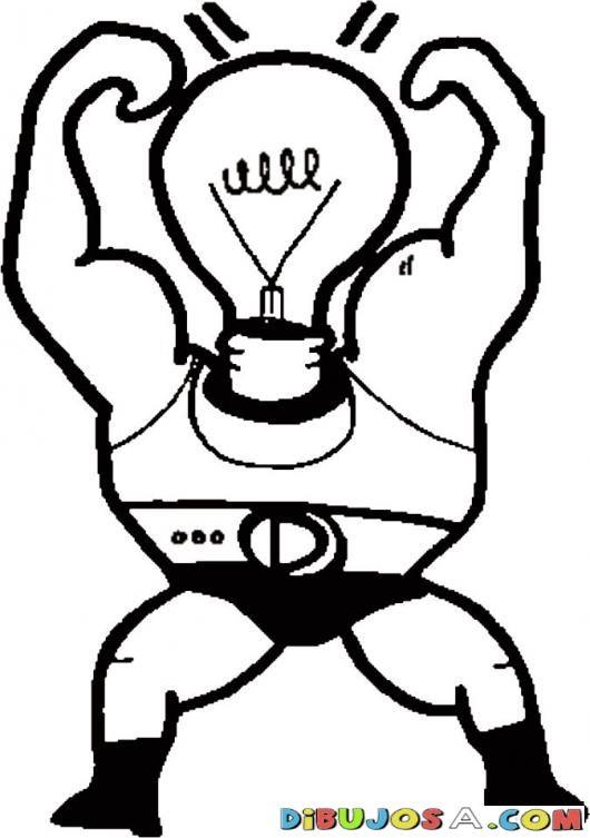 Luz y fuerza. Dibujo de un bombillo de luz fuerte para pintar y ...