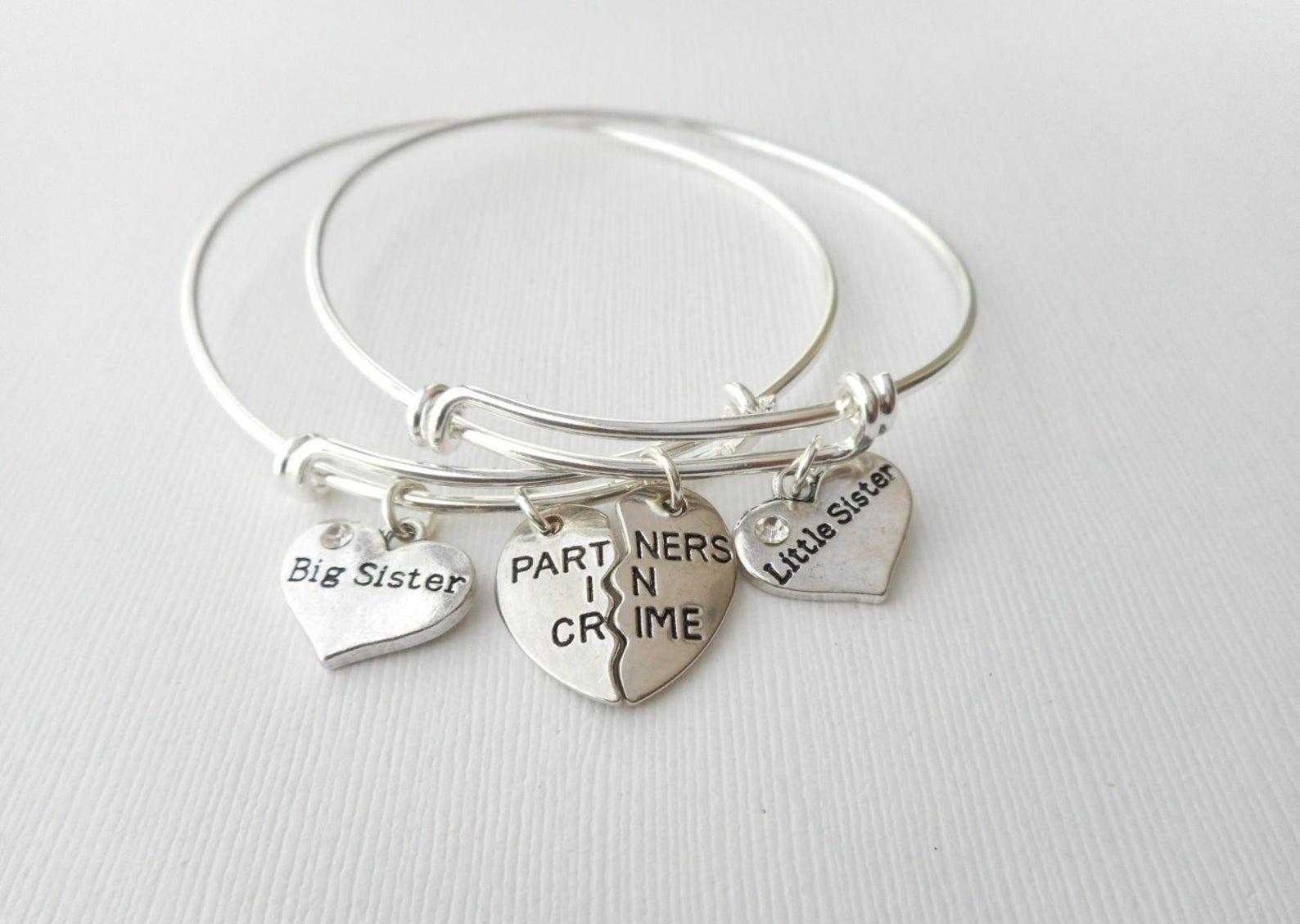2 Partners in Crime Big Sister Little Sister Best Friend Bracelets Bff Jewelry friendship jewel