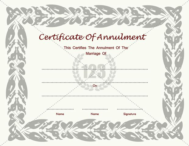 Certificate of Annulment Template for Marriages free download - blank certificates templates free download