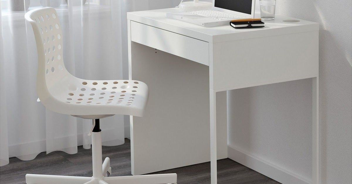 Ikea Micke Desk White A Long Table Top Makes It Easy To Create A Workspace For Twocable Outlets And Compartme In 2020 Ikea Micke Desk Desks For Small Spaces Ikea Micke