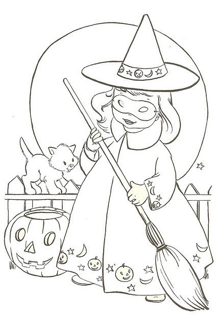 Good Witch Witch Coloring Pages Halloween Coloring Pages Vintage Coloring Books