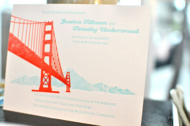 Ready To Print Wedding Invitations: Custom San Francisco Themed Wedding Invitation