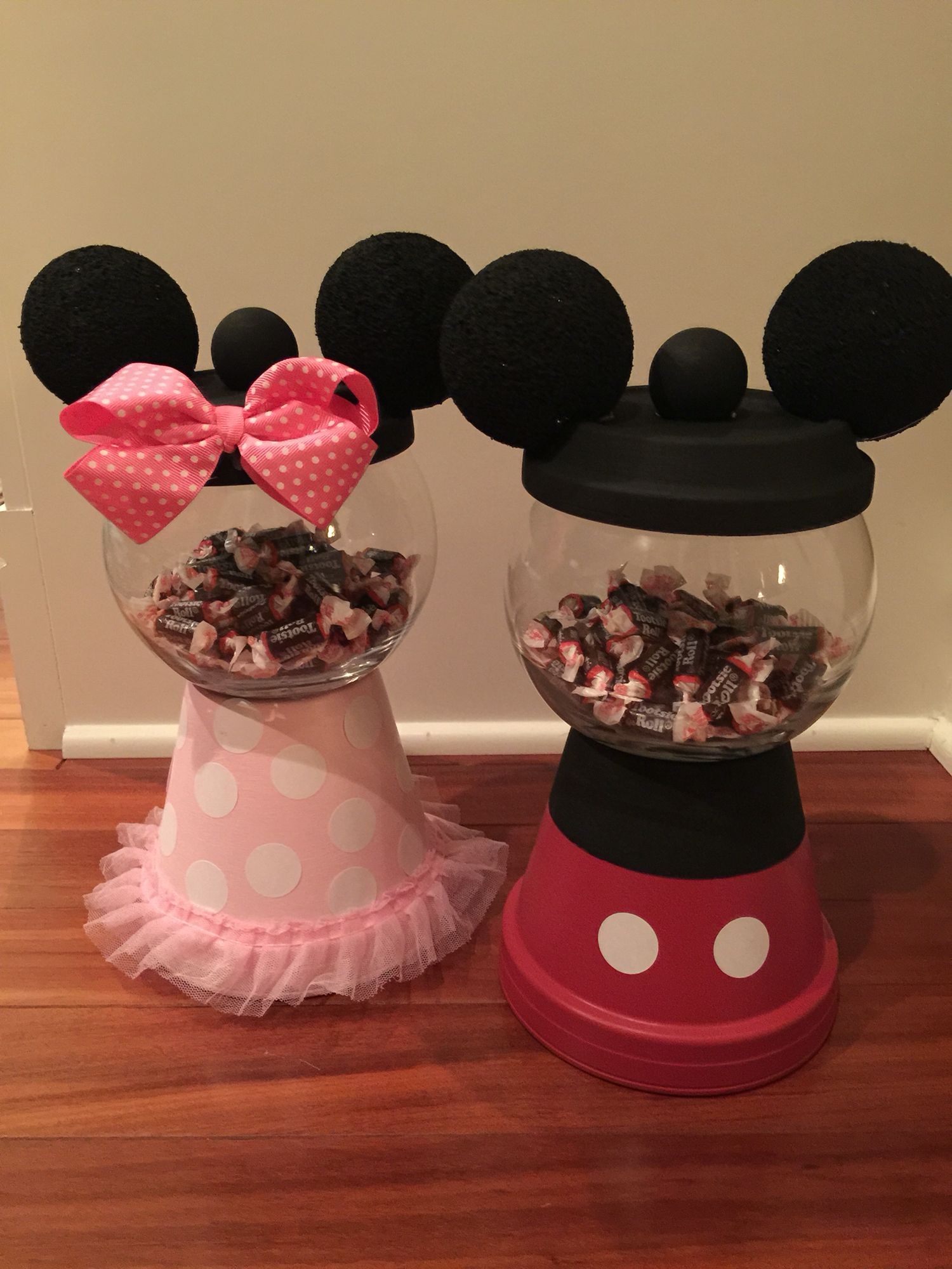 Minnie Mouse & Mickey Mouse gum ball machines for sweet table.