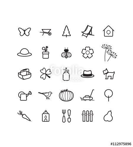 pictogrammes  pictos  icons  sur le th u00e8me du jardin  jardinage  jardiner  nature  planter  semer