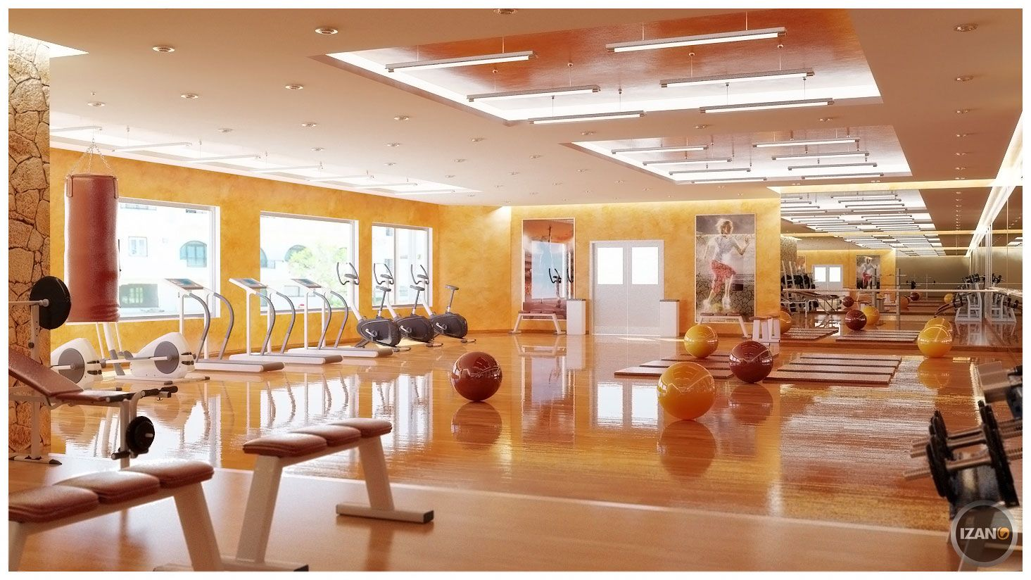 Images about gym s design on pinterest home gyms a gym and search - Interior Exotic Home Gym Room Ideas And Tips Design Lovely Orange Ball Gym Also Modern Treadmills Running With Orange Wall And Parquet Floor
