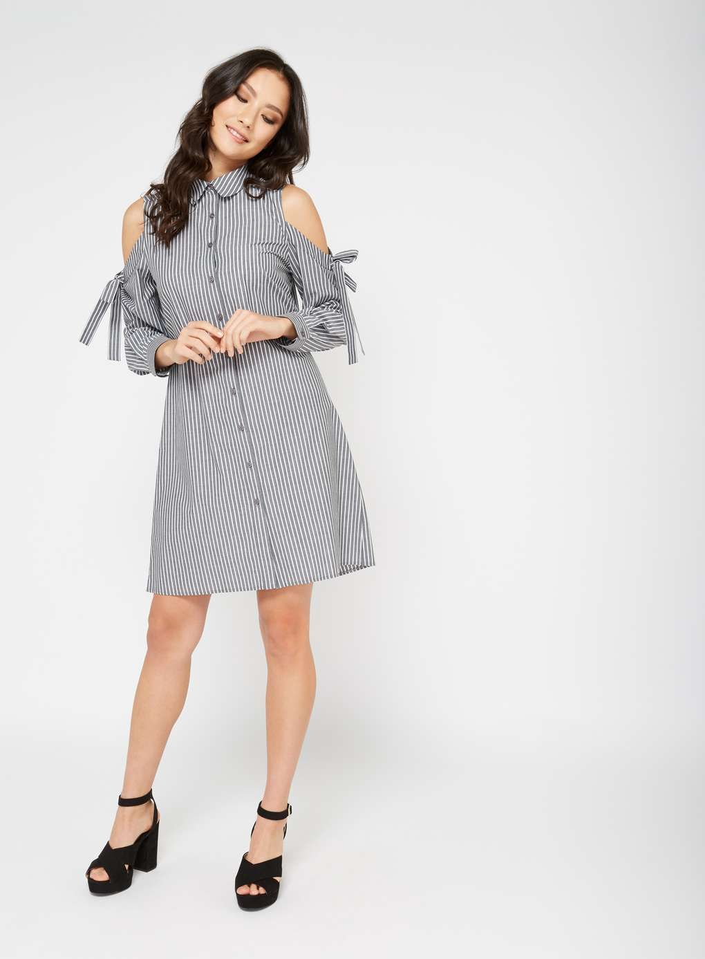39c28482778d14 Striped Cold Shoulder Shirt Dress - View All - Sale   Offers - Miss  Selfridge US