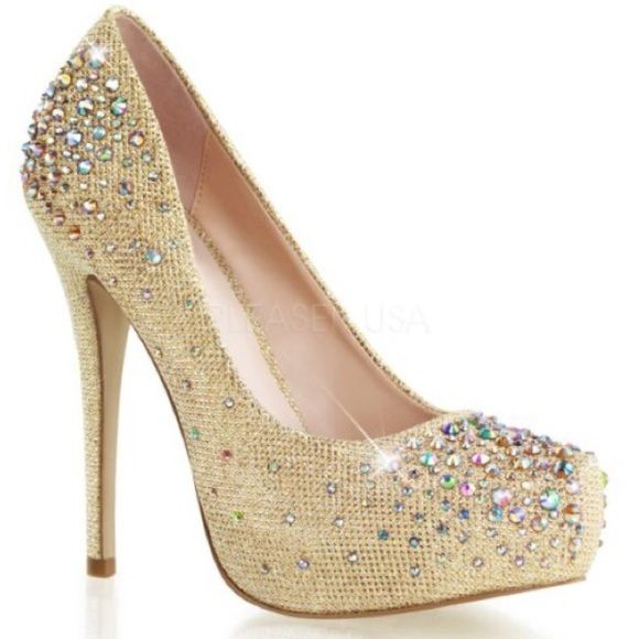 """✨New Rhinestones Nude/Gold New Rhinestones Nude/Gold 5"""" heel & 1"""" hidden patform pump. Never worn without the box. I love These, but it runs small it feels like a 7-1/2 and I'm a 8- 8-1/2. Shoes"""