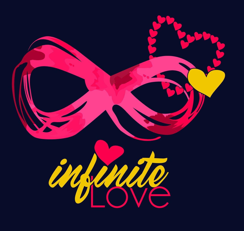 Ladies Infinite Love Infinity Symbol Black Racerback Tank Top