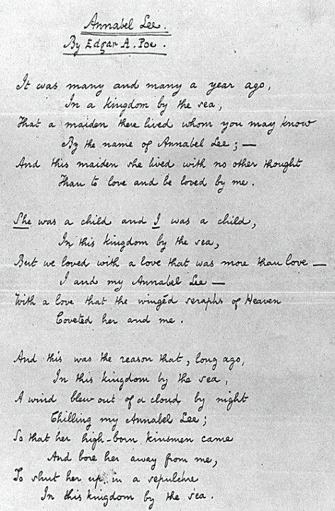 Annabel Lee By Edgar Allen Poe Edgar Allan Poe Edgar Allen Poe Poe Quotes