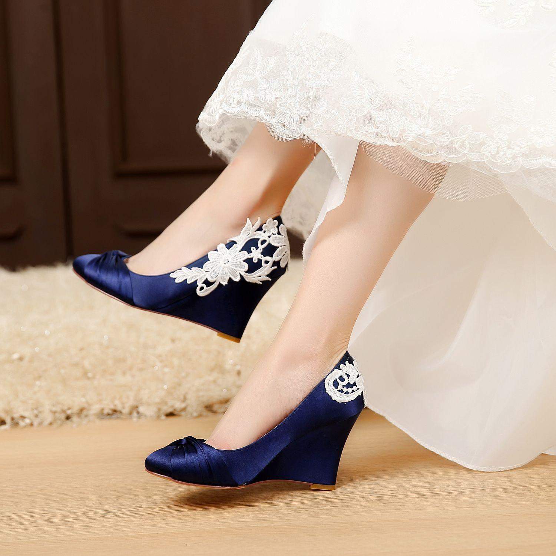 Satin Bridal Shoes Blue Wedding Wedge Comfortable Unique Design For Bride Closed Toe Wedges