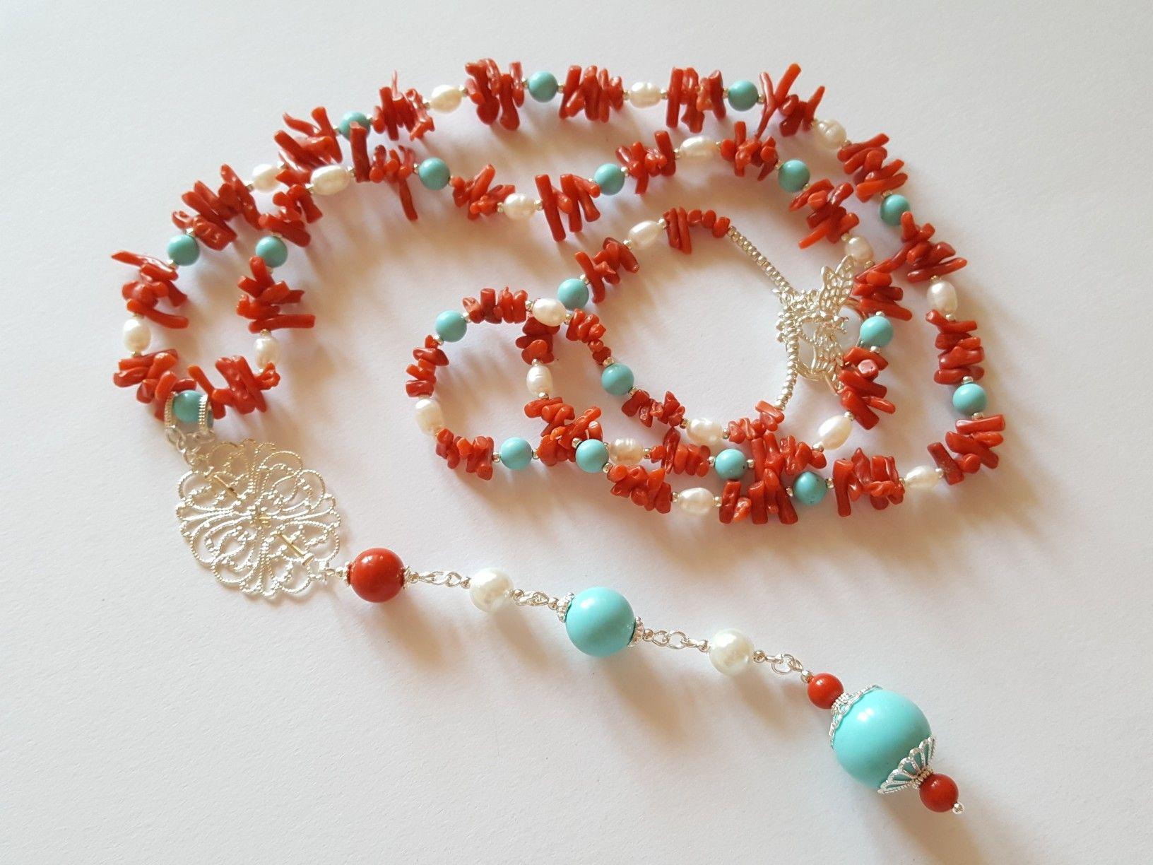 e727ae4b5820a1 Collana realizzata con perle di fiume, perle di Maiorca, pasta di turchese,  pasta