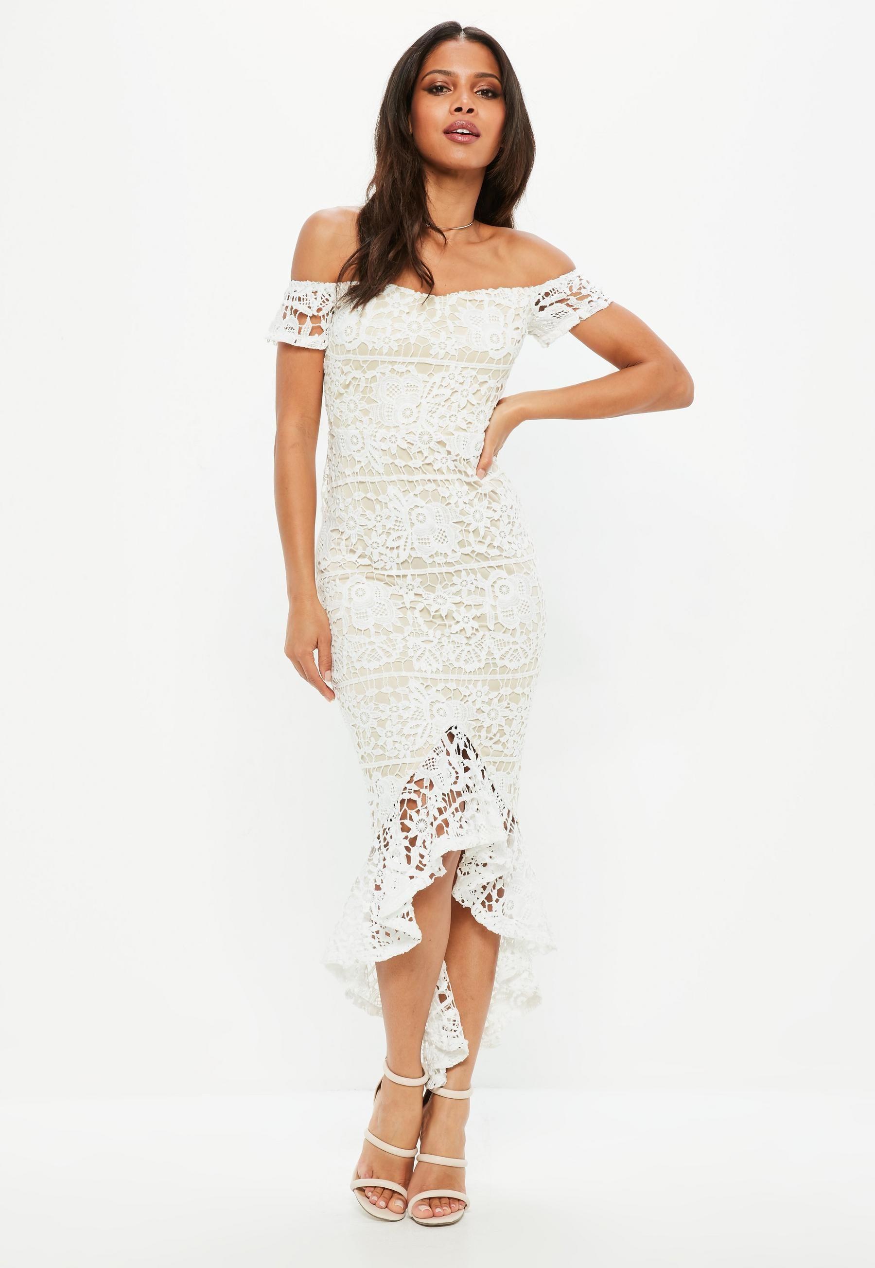 dc7c85c97d White Bardot Lace Fishtail Midi Dress
